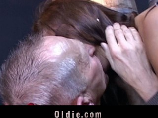 Candy Cat is playing card with the oldman when suddenly that babe climbs up on the table and jumps on him full of craving. This Babe wants smth more thrilling: his old dick unfathomable in her cunt in doggy-style