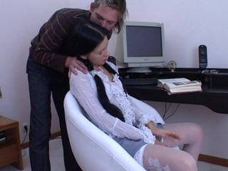 White cozy chair is used for fucking a filthy and horny brunette hair