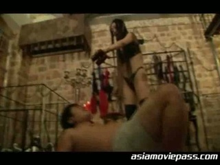 A guy tortured by a horny slut!