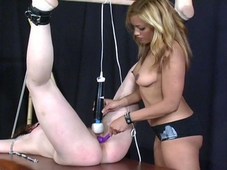 Horny slut is tied up and played by fetish toys !
