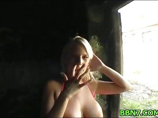 Pretty hot blonde blows cock