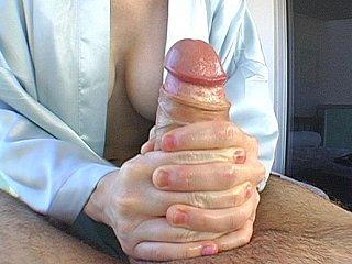 Busty redhead massagist giving handjob & fucking